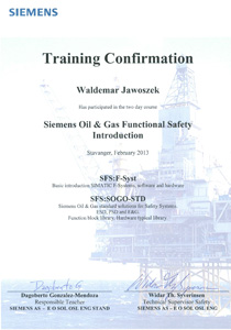 Siemens oil and gas safety training certyfikat znajomość plc pcs7 simatic safety matrix
