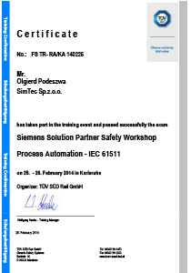 Workshop Confirmation Olgierd Podeszwa Safety PCS7 simatic systems safety matrix for DCS