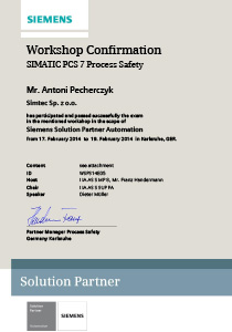 SimTec Siemens Solution Partner Confirmation TUV Safety Specialist Antoni Pecherczyk